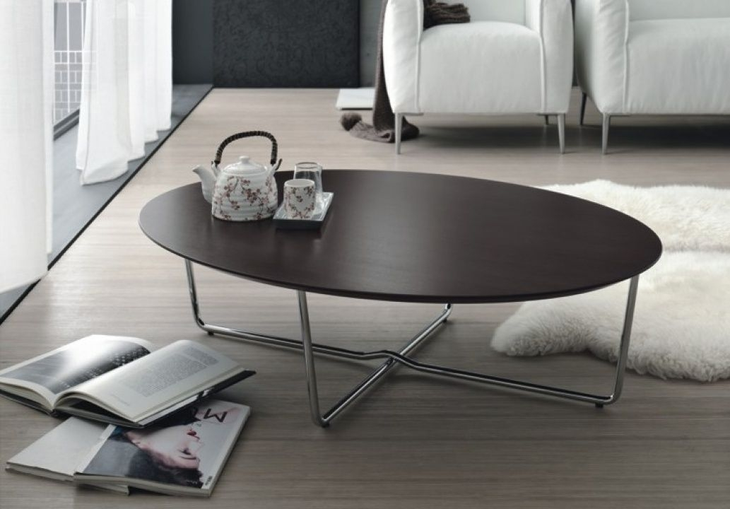 Innovative Famous Metal Oval Coffee Tables With Regard To Contemporary Coffee Table Wooden Metal Oval Giglio Doimo (Image 29 of 50)