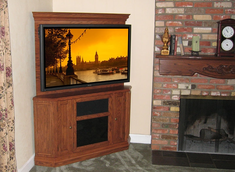 Innovative Famous Oak Corner TV Stands For Flat Screens Intended For C 220 Corner Tv Stand With Back Wall Easily Mount Tv To Furniture (Image 32 of 50)