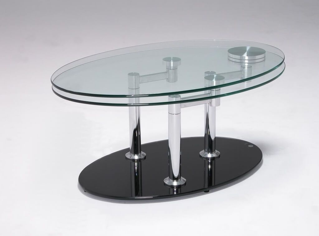 Innovative Famous Oval Shaped Glass Coffee Tables With Furniture Alluring Double Glass Modern Coffee Table In Oval Shape (Image 30 of 50)