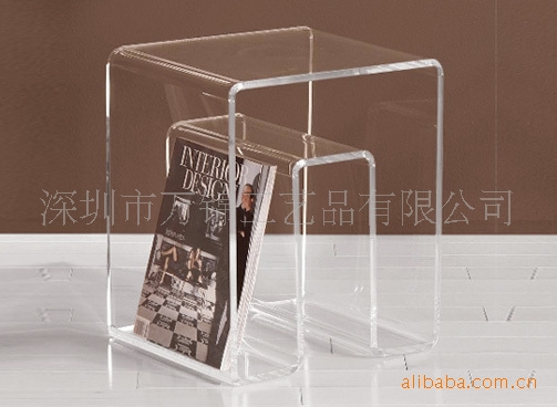Innovative Fashionable Acrylic Coffee Tables With Magazine Rack Intended For Magazine Rack Coffee Table Crystal Table Transparent Acrylic (View 25 of 40)