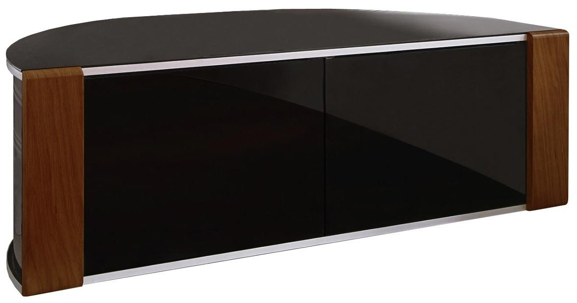 Innovative Fashionable Black Corner TV Cabinets With Glass Doors Within Bdi Cavo 8167 Natural Walnut Tv Stand Bdi Signal 8329 Natural (Image 29 of 50)