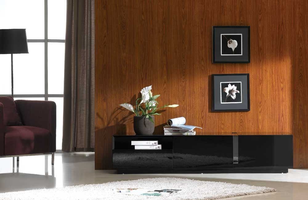 Innovative Fashionable Contemporary Black TV Stands With Regard To Black High Gloss Tv Stand J M Furniture (View 10 of 50)