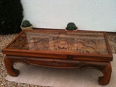 Innovative Fashionable Elephant Glass Top Coffee Tables With Solid Wood  Hand Carved Elephant Scene Coffee Table