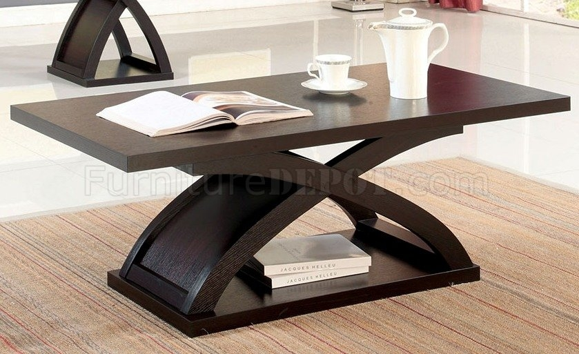 Innovative Fashionable Espresso Coffee Tables For Arkley Coffee Table 2 End Tables 3pc Set In Espresso (Image 23 of 50)