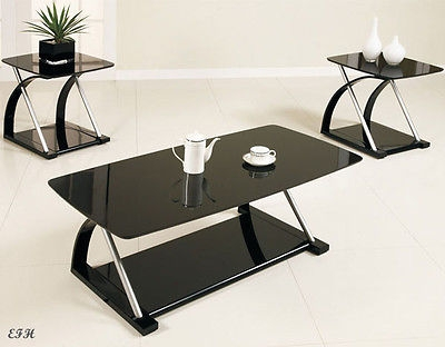 Innovative Fashionable Glass And Black Metal Coffee Table Throughout New 3pc Zebe Modern Sleek Black Glass Silver Metal Coffee End (Image 23 of 50)