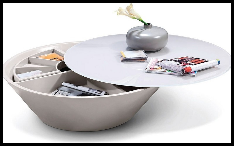 Innovative Fashionable Round Storage Coffee Tables Pertaining To Round Coffee Table Storage (View 19 of 50)