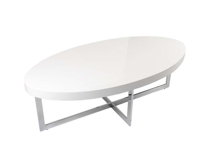 Innovative Favorite Chrome And Wood Coffee Tables Within Eurostyle Oliver Oval Wood Top Coffee Table In White Lacquer (View 38 of 50)