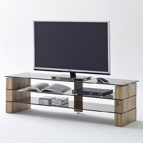Innovative Favorite Glass TV Stands Intended For Kathryn Glass Tv Stand In Smoke With Solid Oak Frame (View 26 of 50)