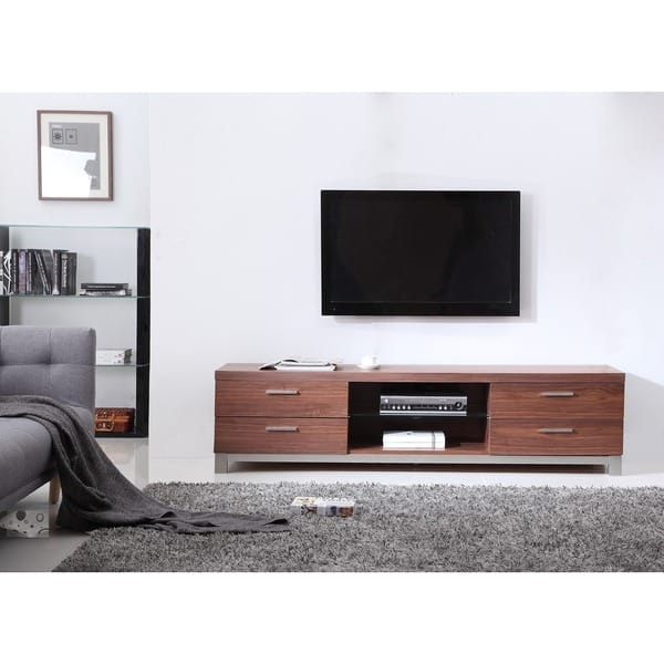 Innovative Favorite Light Brown TV Stands Throughout Natasha Light Walnut Stainless Steel Modern Tv Stand Free (Image 31 of 50)