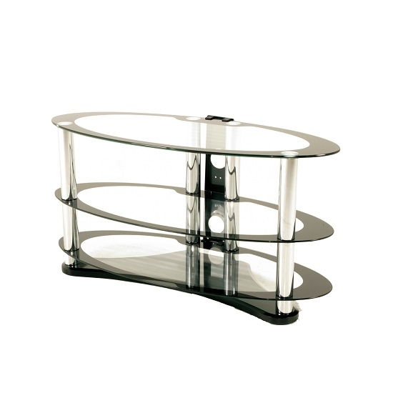 Innovative Favorite Oval Glass TV Stands For Westa Glass Tv Stand Oval In Clear With Black Border (View 12 of 50)