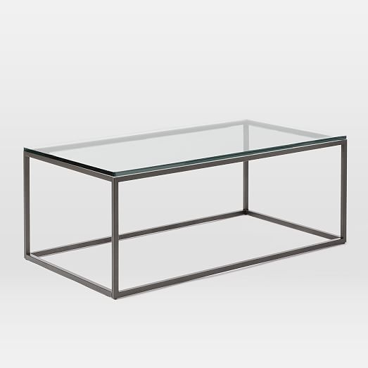 Innovative Favorite Rectangle Glass Coffee Table With Box Frame Coffee Table Glassantique Bronze West Elm (View 31 of 50)