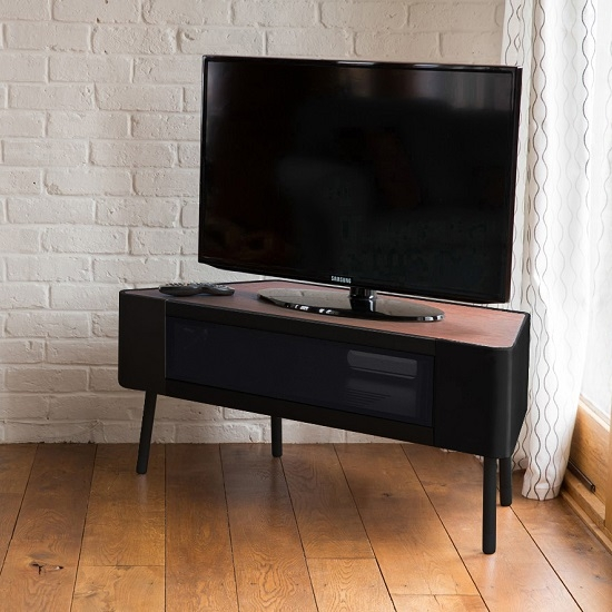 Innovative Favorite Walnut Corner TV Stands Intended For Norvik Corner Tv Stand In Walnut And Black Gloss With Glass (Image 36 of 50)