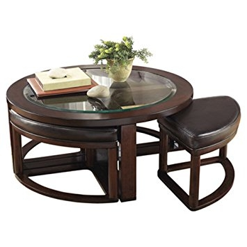 Innovative High Quality Coffee Tables With Nesting Stools Pertaining To Amazon Thornburgh 5 Piece Coffee Table Stool Set Dark Brown (View 39 of 50)