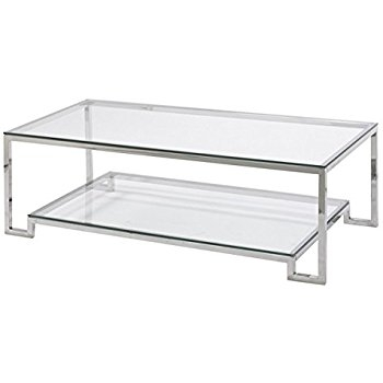 Innovative High Quality Glass Coffee Tables With Shelf Within Amazon Large Demster Glass Coffee Table Glass And Stainless (View 43 of 50)