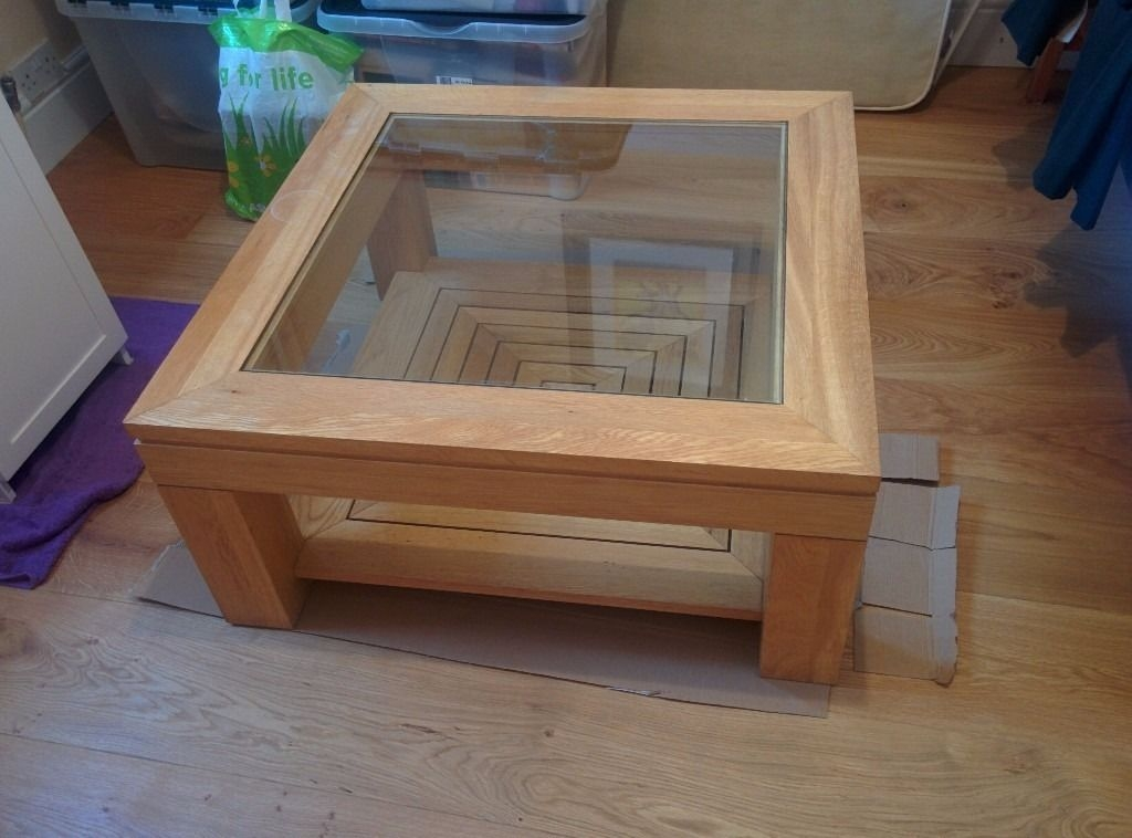 Innovative High Quality Glass Oak Coffee Tables Inside Oak Coffee Table With Glass Top 30 In Putney London Gumtree (Image 34 of 50)