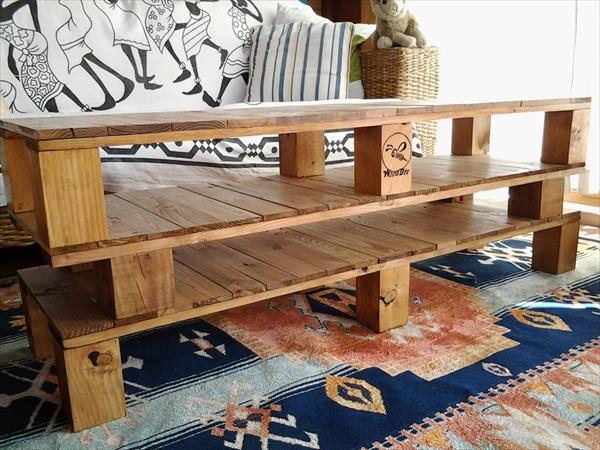 Innovative High Quality Rustic Coffee Tables And Tv Stands Throughout Diy Pallet Coffee Table And Tv Stand 99 Pallets (View 28 of 50)