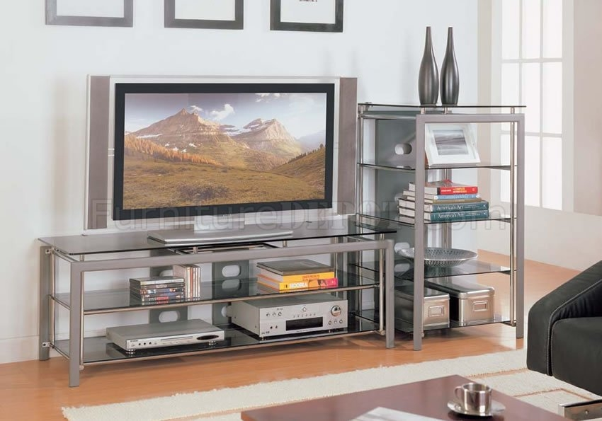 Innovative High Quality Silver TV Stands Intended For Rectangle Shape Silver Finish Contemporary Tv Stand (View 22 of 50)