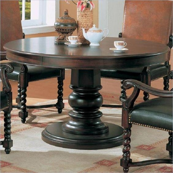 Innovative Ideas Dark Wood Round Dining Table Peaceful Design Dark Pertaining To Dark Round Dining Tables (Image 16 of 20)