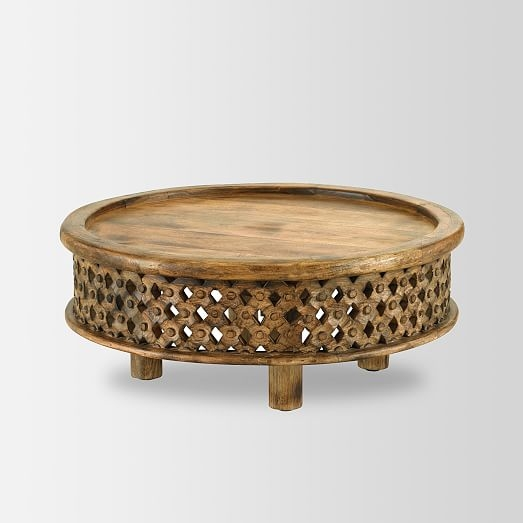 Innovative Latest C Coffee Tables Inside Carved Wood Coffee Table West Elm (Image 34 of 50)