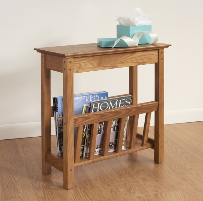 Innovative Latest Coffee Tables With Magazine Rack Regarding Chairside Magazine Rack Hardwood Furniture Manchester Wood (Image 30 of 50)