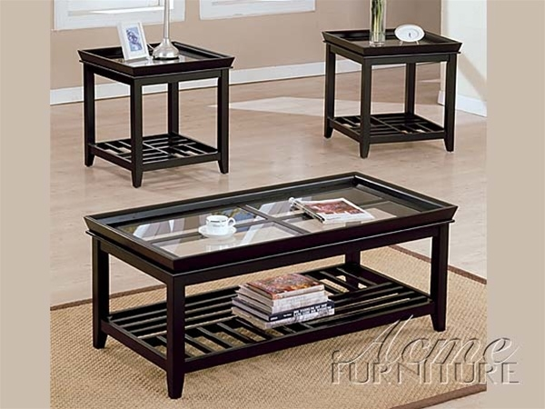 Innovative Latest Espresso Coffee Tables Within Ava Glass Top 3pc Coffeeend Table Set In Espresso Finish Acme (View 30 of 50)