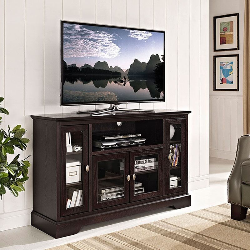Innovative Latest Espresso TV Cabinets Throughout Walker Edison Antique Style Highboy 55 Inch Tv Cabinet Espresso (Image 33 of 50)