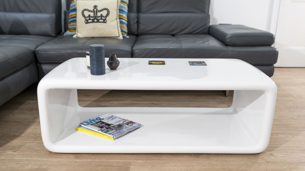 Innovative Latest Gloss Coffee Tables With Regard To White Gloss Coffee Table Curvy Oval Lozenge Shape Storage (View 38 of 50)