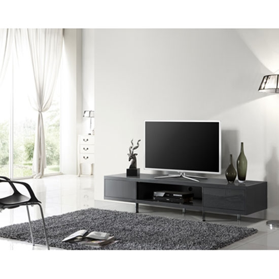 Innovative Latest Gloss TV Stands Pertaining To Grey High Gloss Finish Plasma Tv Stand With 2 Drawer (Image 37 of 50)