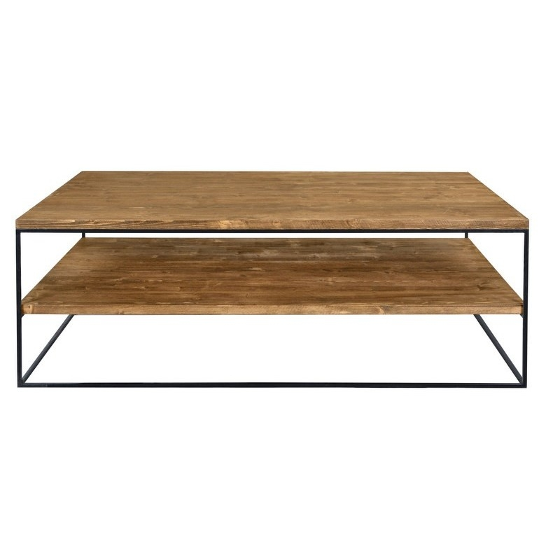 Innovative Latest Industrial Style Coffee Tables Pertaining To Redwood Iii Industrial Style Pine Wood Coffee Table Coffee (View 33 of 50)