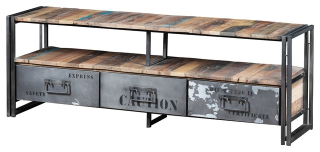 Innovative Latest Industrial TV Stands Regarding Recycled Boat Wood And Industrial Metal 3 Drawer Tv Console (Image 31 of 50)