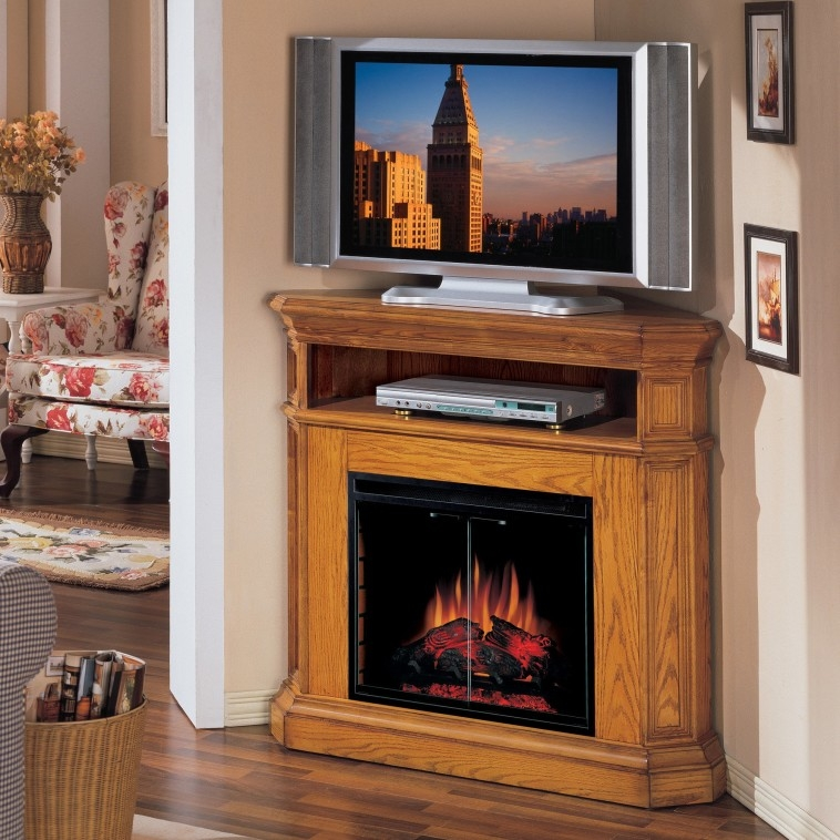 Innovative Latest Large Corner TV Stands Regarding Furniture Rustic Varnished Maple Wood Corner Tv Stand Furnished (View 39 of 50)