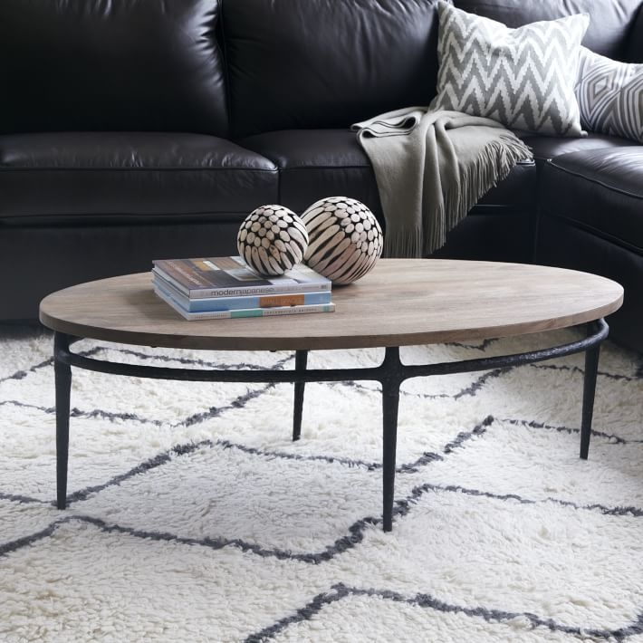 Innovative Latest Metal Oval Coffee Tables Regarding Cast Base Coffee Table West Elm (View 29 of 50)