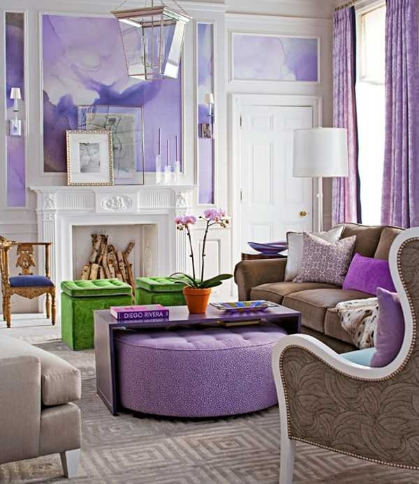 Innovative Latest Purple Ottoman Coffee Tables In 22 Modern Interior Design Ideas With Purple Color Cool Interior (Image 22 of 40)