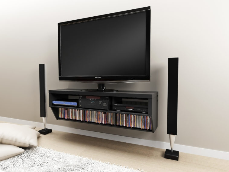 Innovative Latest Wall Mounted TV Stands With Shelves With Regard To Furniture Black Wooden Wall Mounted Tv Stands With Shelves And (Image 37 of 50)