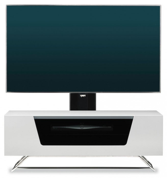 Innovative Latest White Cantilever TV Stands Inside Chromium 2 White Cantilever Tv Stand Cro2 1000bkt Wht (Image 29 of 50)