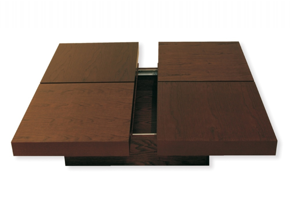 Innovative New Low Coffee Tables With Storage Throughout Square Shaped Walnut Coffee Table With Storage Also Two Doors And (Image 22 of 40)