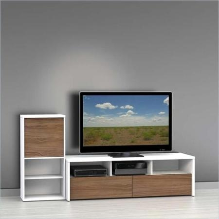 Innovative New Nexera TV Stands With Regard To Buy Nexera Liber T Tv Stand With Bookcase In White And Walnut In (View 48 of 50)