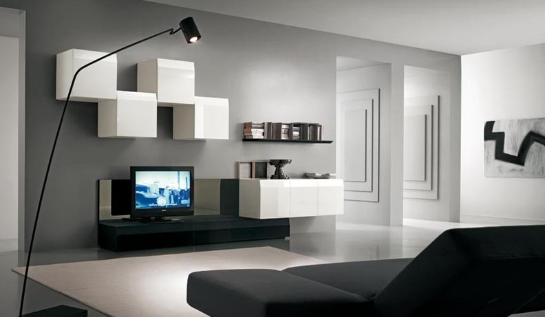 Innovative New Scandinavian Design TV Cabinets Throughout Living Room Wonderful White Black Wood Unique Design Tv Wall (View 38 of 50)