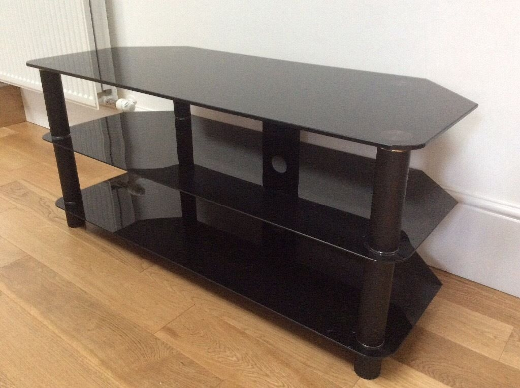 Innovative New Smoked Glass TV Stands Regarding 3 Level Smoked Glass Tv Stand Tv Dvd Cameras Tv Dvd Cameras (View 4 of 50)