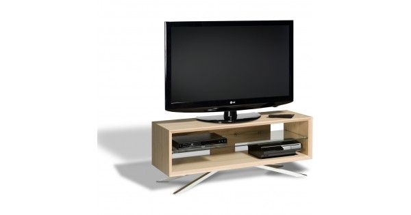 Innovative New Techlink Arena TV Stands In Chrome Plated Pyramidal Base Cable Management And Power Strip (Image 31 of 50)