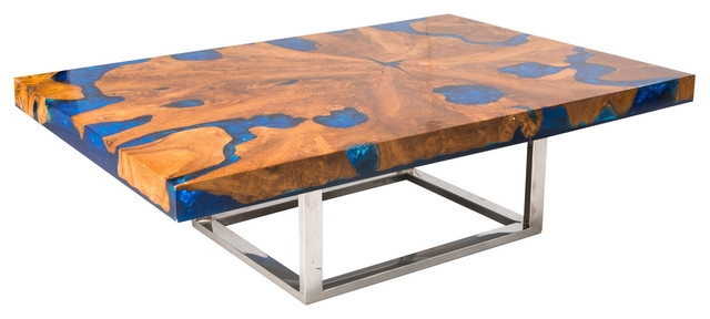 Innovative Popular Blue Coffee Tables With Blue Cracked Resin Coffee Table Modern Coffee Tables Aire (Image 30 of 50)