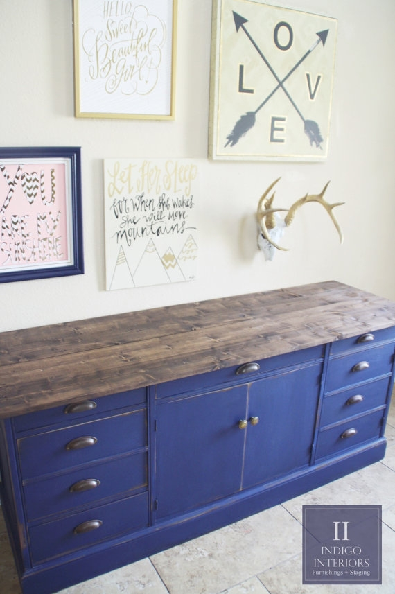 Innovative Popular Blue TV Stands In Farmhouse Style Navy Blue Distressed Dresser Buffet (View 42 of 50)