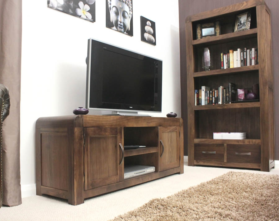 Innovative Popular Chunky TV Cabinets Intended For Leo Modern Walnut And Glass Tv Cabinet Home Living Room Wood Tv (Image 23 of 50)
