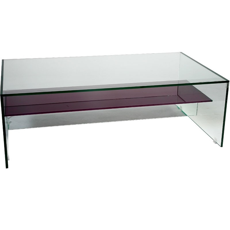 Innovative Popular Glass Coffee Tables With Shelf Intended For Helderr Beljo Glass Coffee Table With Coloured Shelf (View 19 of 50)