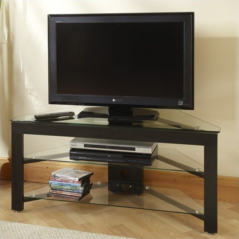 Innovative Popular Glass TV Stands Intended For 43 And Wood Corner Tv Stand In Black Tv 01a (View 42 of 50)