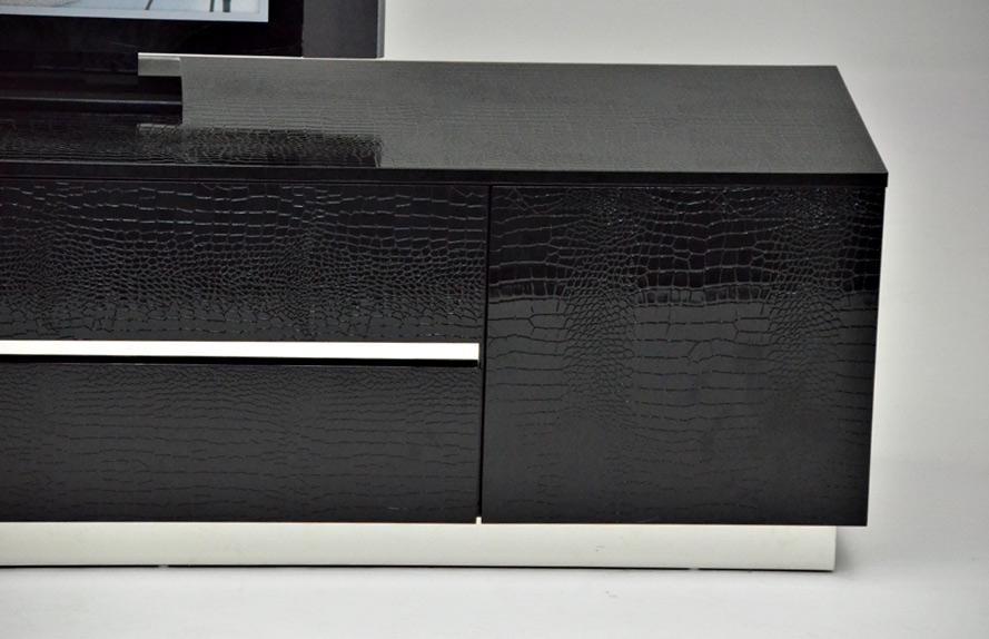 Innovative Popular Modern Black TV Stands Throughout Black Crocodile Texture And Lacquer Tv Unit Detroit Michigan Vsky (View 43 of 50)