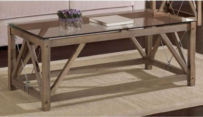 Innovative Popular Reclaimed Wood And Glass Coffee Tables Pertaining To Weathered Coffee Table Rustic Modern Wood Glass Top Cable (View 46 of 50)