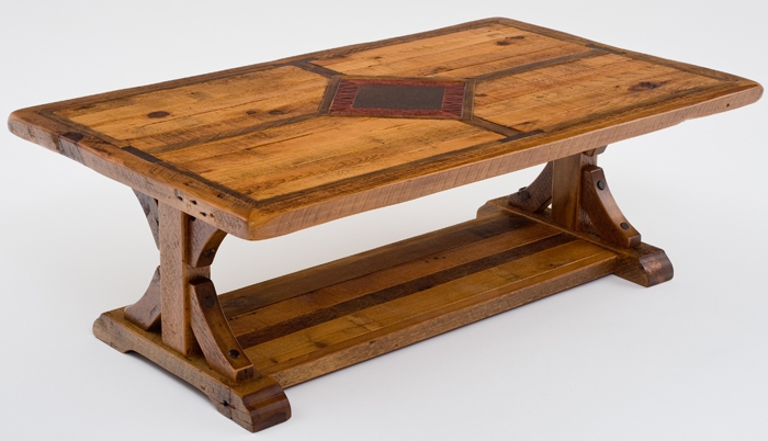 Innovative Popular Rustic Barnwood Coffee Tables Inside Rustic Coffee Tables Reclaimed Old Barn Wood Trestle Base (View 47 of 50)