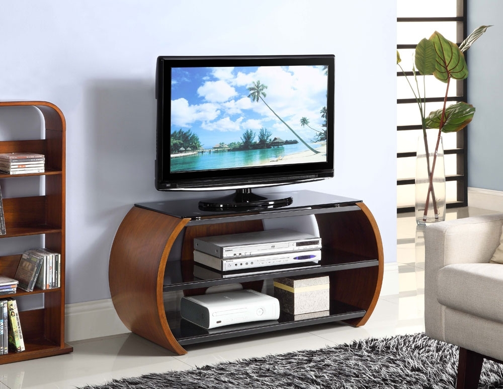Innovative Popular TV Stands 100cm With Regard To Jual Curve Walnut Tv Stand Jf208 Oak Furniture Solutions (View 44 of 50)