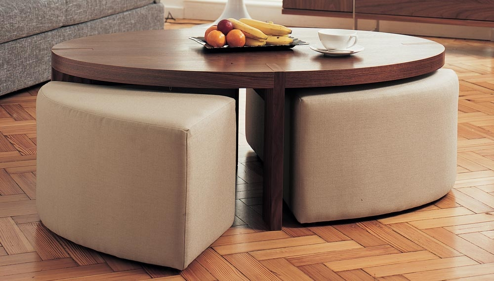 Innovative Preferred Coffee Tables With Seating And Storage Regarding Round Coffee Table With Ottomans Underneath Round Coffee Table (Image 40 of 50)